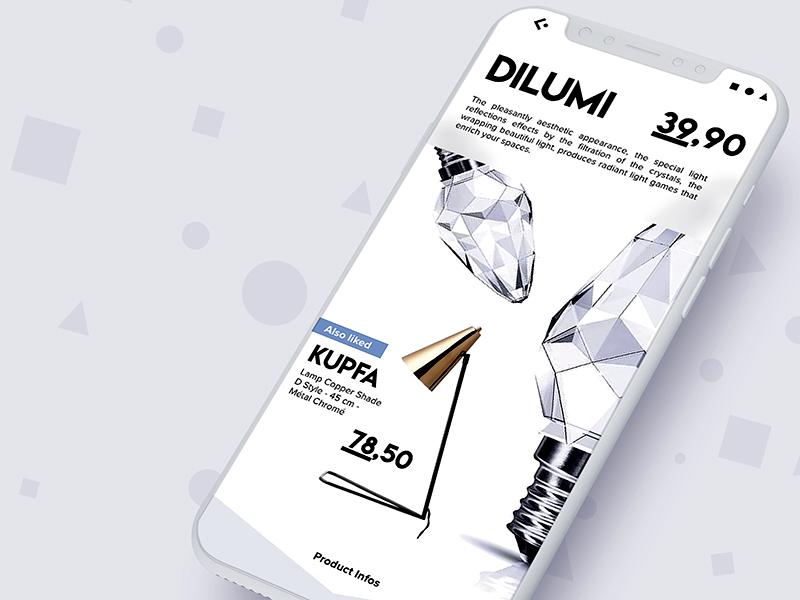 Dilumi Light Shop ui shapes white simple clean interface lamps bulbs light shop