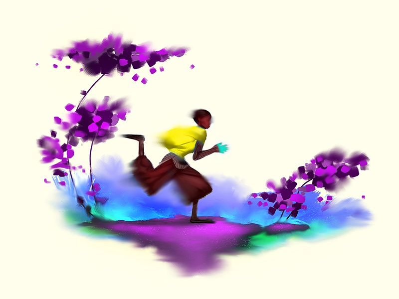 Run brushes photoshop art wallpaper sports boy colorful fantasy illustration