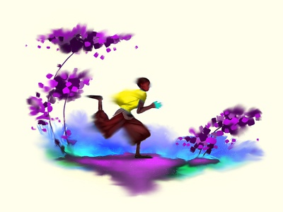 Run brushes photoshop art wallpaper sports boy colorful fantasy illustration