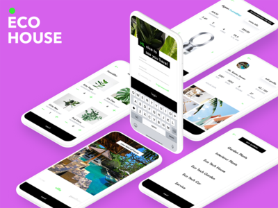 ECO HOUSE ecosystem home clean ui ux logo app minimal interface