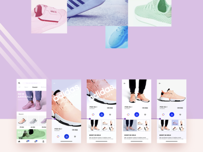 adidas color app concept clean minimal colorful uidesign app shop sneakers brand pastel interface