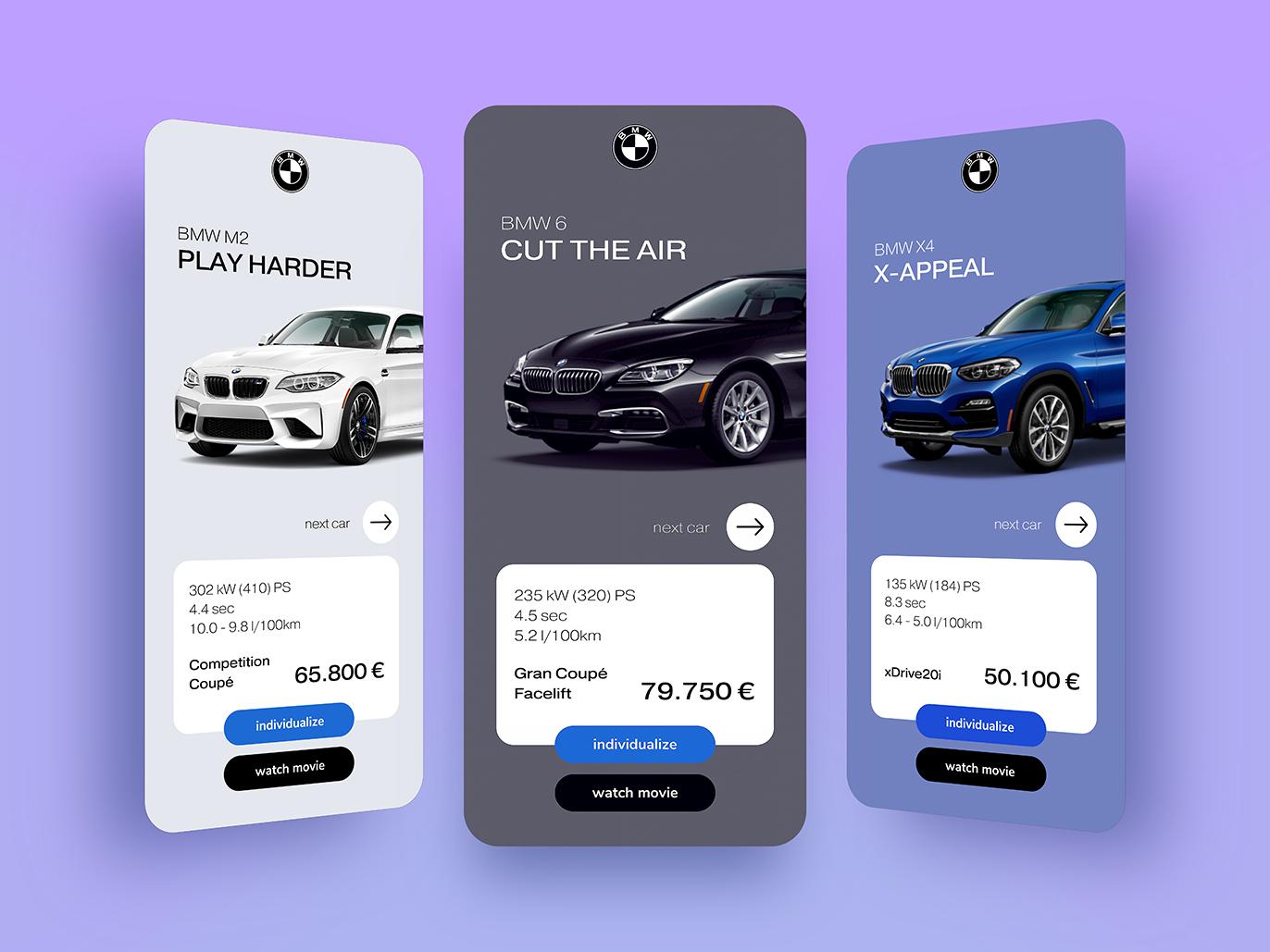 BMW Car Show iphone x apple shop presentation navigation simple design uidesign clean minimal app interface vehicle car