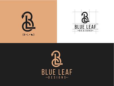 Blue Leaf Design blue leaf branding typography monogram minimal icon font design logo lettering creative