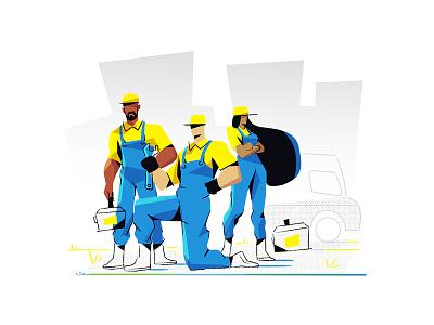 Plumber hero image plumber art vector character branding flat characterdesign design illustration