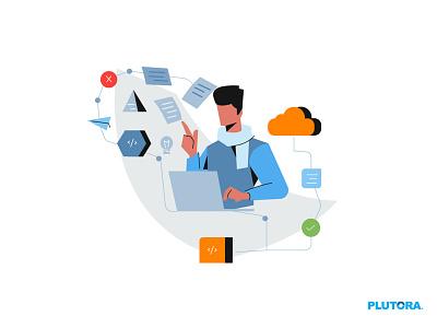 Managing Test Environment web illustration ui flat characterdesign design art concept illustration