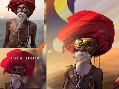 Old man on MARS steps character caricature cartoon photoshop fun painting oldman