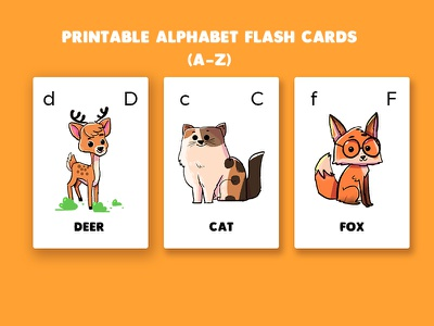 Alphabet Flash cards illustration design print flashcard card animal cute