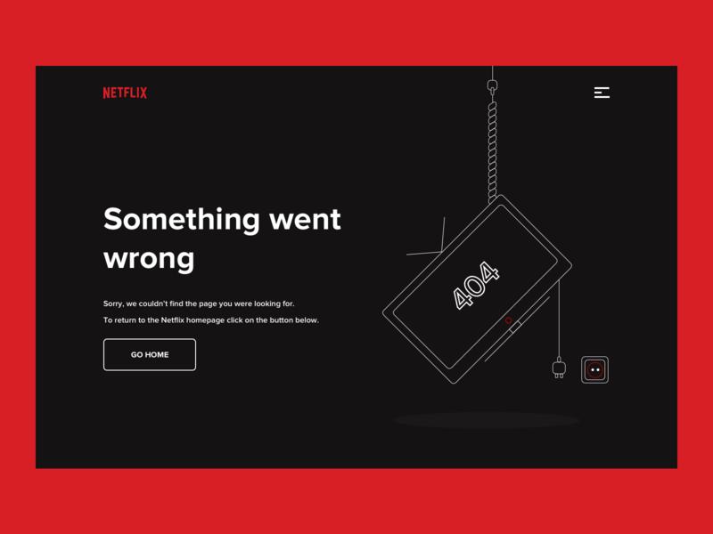 Netflix 404 Error Page status problem netflix black icon typography error 404 stream red web design illustration house card tv vector ui