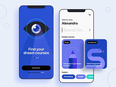 Courses App gogoapps unboarding search blue development technology pencil eye snake clean interface illustration shapes minimal design ux ui mobile course app