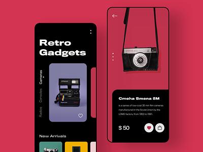Retro Stuff Store gogoapps technical technology gadgets console trend things stuff app ecommerce store camera vintage retro ux interface minimal design mobile ui