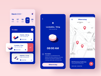 Medication Reminder gogoapps care health pharmacy trend blue pin sketch screen calendar reminder meditation pills ux interface app design mobile ui minimal