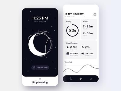 Sleep Tracking App gogoapps ux profile calendar bed player sleeping alarm tracking app sleep moon ios illustration simple shapes interface clean design mobile ui minimal