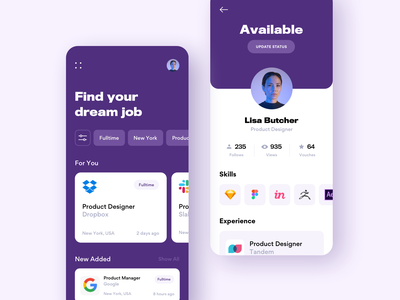 Job Search gogoapps shapes designer screen fulltime job search job listing job application platform job portal job ios interface clean app design mobile ux ui minimal