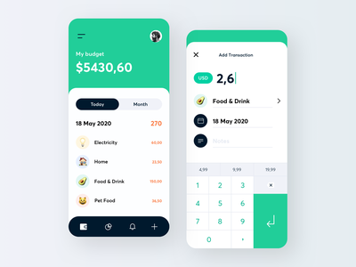 Expense Tracker spendings finance tracker money expense ios minimal mobile ui ux clean interface app design gogoapps