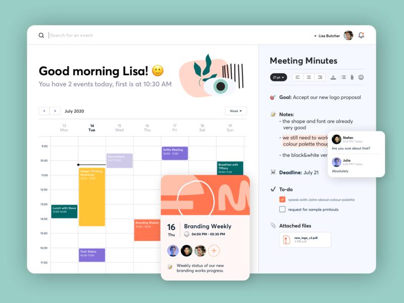 Desktop Calendar eye web panel clean ux events simple shapes meetings calendar desktop illustration app interface gogoapps design ui