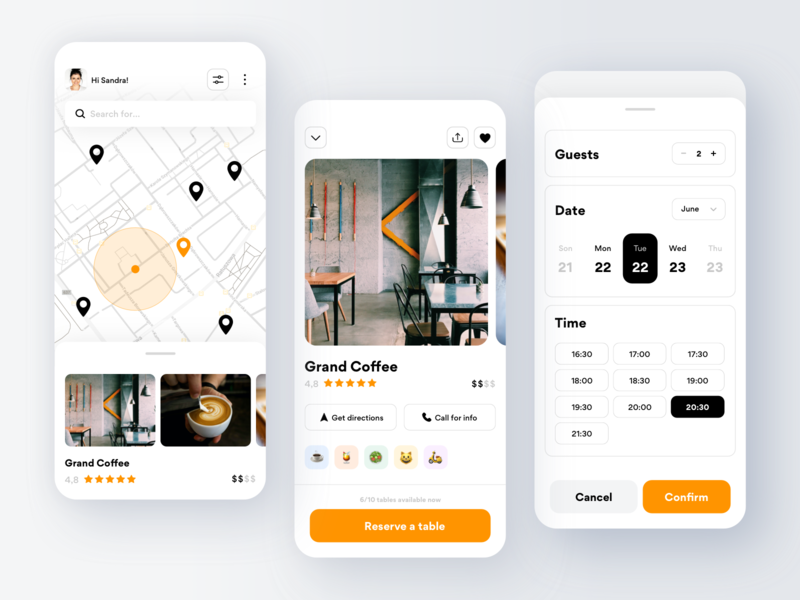 Restaurants Table Reservation booking pandemic covid19 research food drink coffee reserved reservation restaurant ios design clean ux ui minimal interface app mobile gogoapps
