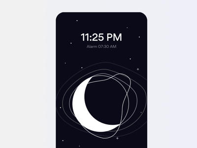 Sleep Tracking App - Animation moving animation moon tracker sleeping player illustration tracking sleep alarm simple shapes ux clean interface app mobile gogoapps design ui minimal