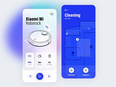 Vacuum Cleaner App illustraion robot vacuum cleaner home icons transparent blur blurred background gradient ios ux clean interface app mobile gogoapps design ui minimal