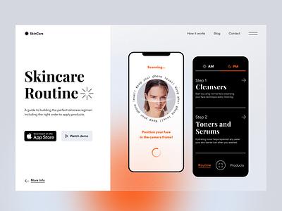 Skincare Routine App - Landing Page face blur gradient transparent scan guide product quality skin landing page routine skincare clean interface app mobile gogoapps minimal design ui