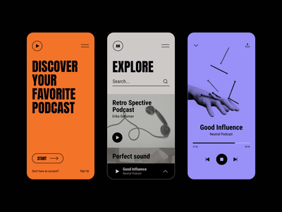 Podcast App clean typography discover bold colors photo halftone player influence podcast illustration mobile app interface gogoapps minimal design ui