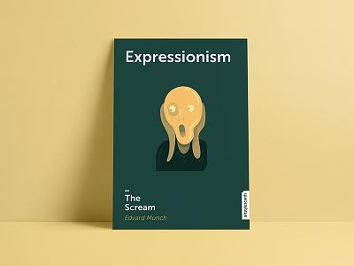 Minimalistic postcard - Expressionism minimalistic postcard postcard poster edvard munch the scream expressionism