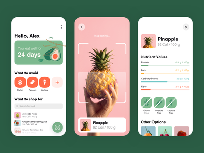 Healthy Eating App gogoapps ios interface green mobile design clean colors eat healthcare health grocery illustrations ux ui scanner scan pineapple aplication app