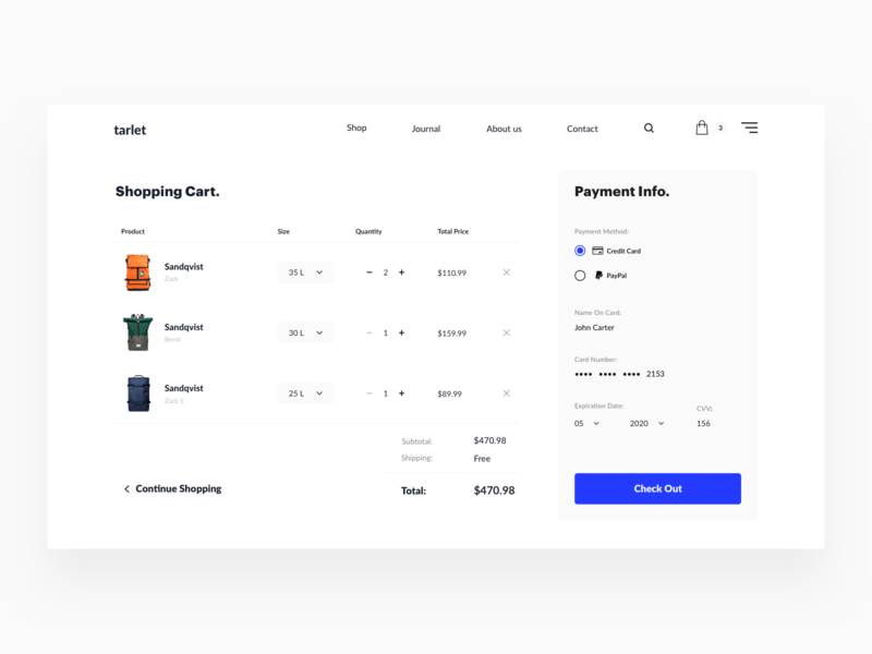 Checkout Page creative payment checkout animation ecommerce clean figma website web sketch ux ui design