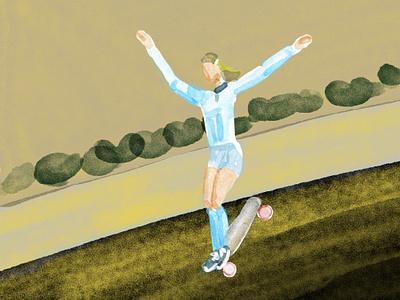 Ellen O'Neal skateboarding photoshop illustration