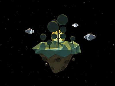 Treeland planet tree low-poly 3d c4d