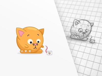 catBall  mouse vector illustrator illustration cat