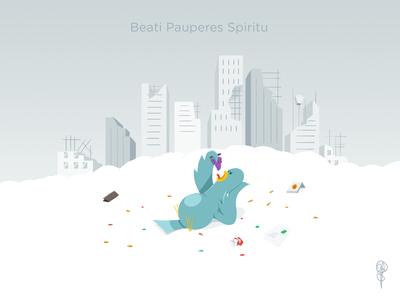 Beati Pauperes Spiritu photoshop pigeon illustration