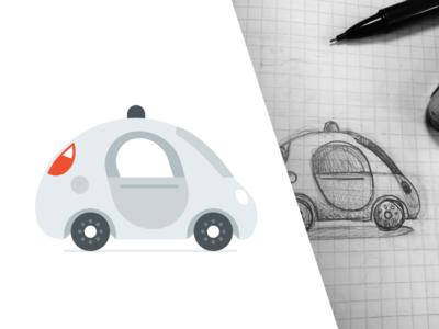 Flat Gcar illustrator google car illustration flat