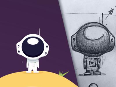Astronaut space sketch illustrator flat illustration game