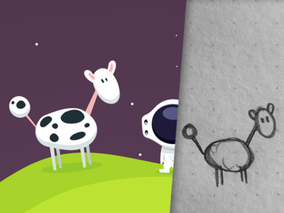 SpaceCows space sketch illustrator illustration game flat