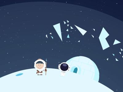 Lexkimo igloo eskimo planet snow space sketch illustrator illustration game flat