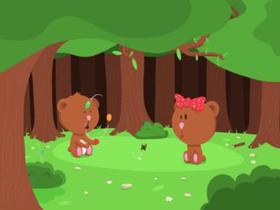 Teddy juggler flat cartoon teddy bear adobe draw apple pencil ipad pro