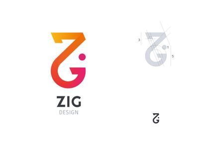 Zig Logo gradient vector design golden ratio illustrator logo