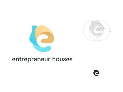 entrepreneur houses house logo house e letter e logo e gradient golden ratio design logo illustrator