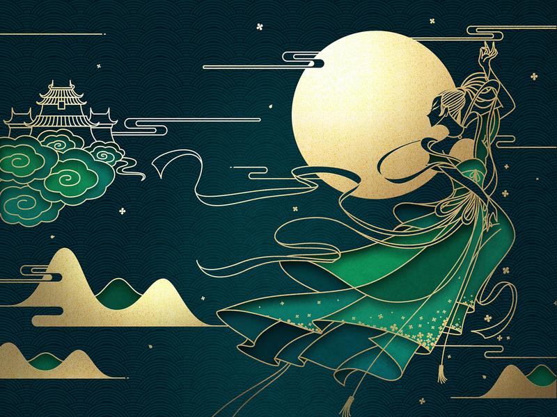 The Mid-Autumn Festival wallpaper illustration