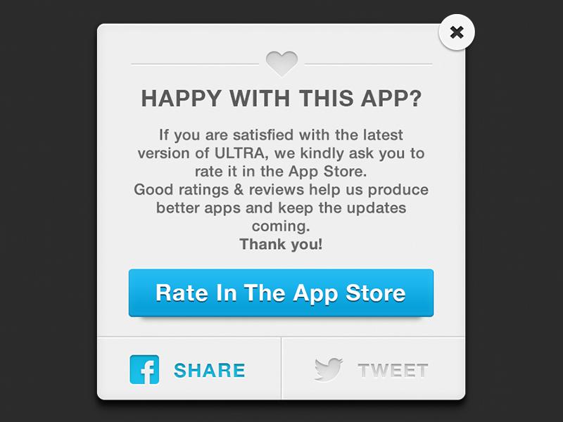 Rate & Share Modal modal pop up alert iphone ios ultra app facebook twitter tweet heart