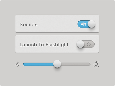 Settings UI settings switch slider on off brightness iphone ios ui ux app elements