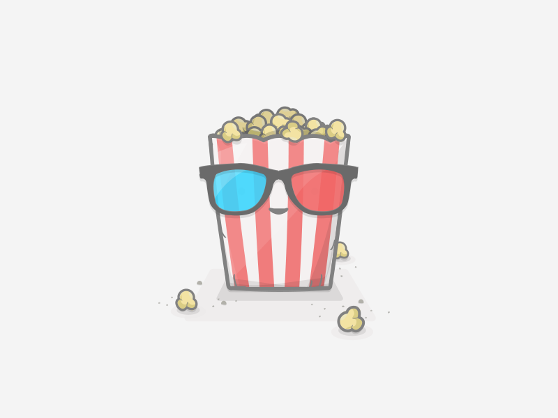 Watch Videos 3d glasses cinema video popcorn app gumdrop illustration gumdrop rewards