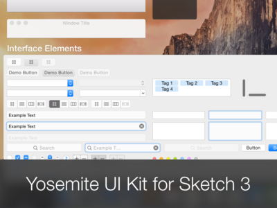 Yosemite UI Kit for Sketch ui kit yosemite os x mac sketch .sketch freebie download user interface ui