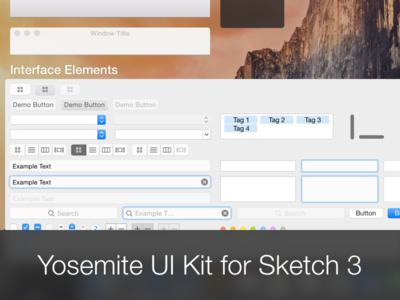 Yosemite UI Kit for Sketch ui kit yosemite os x mac sketch .sketch freebie download user interface ui