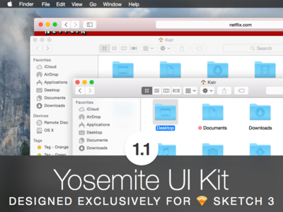 Updated: Yoseite UI Kit 1.1 for Sketch ui .sketch download freebie mac os x sketch ui kit user interface yosemite