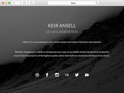 KeirAnsell.com Splash splash website webdesign homepage one page single page splash page web design home page