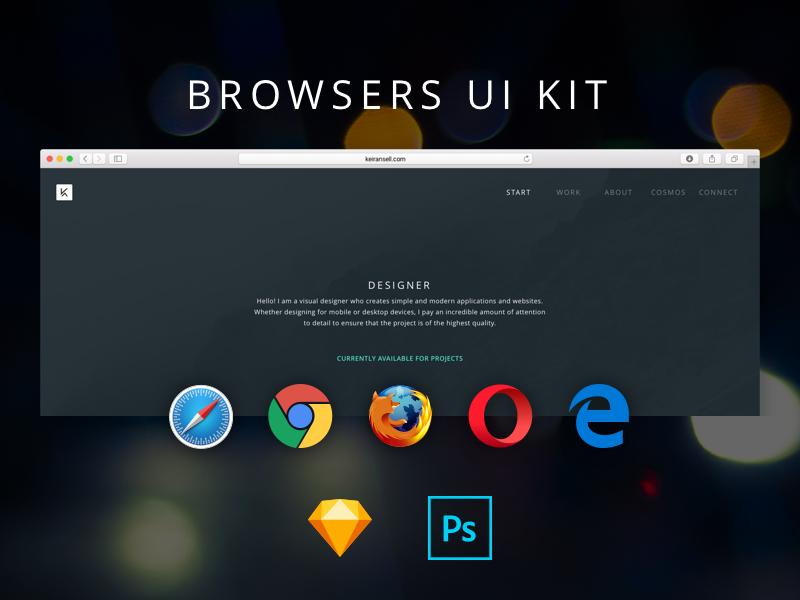 Browsers UI Kit edge opera firefox chrome safari photoshop sketch ui kit freebie browser