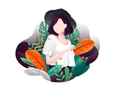 A pretty girl illustration ui