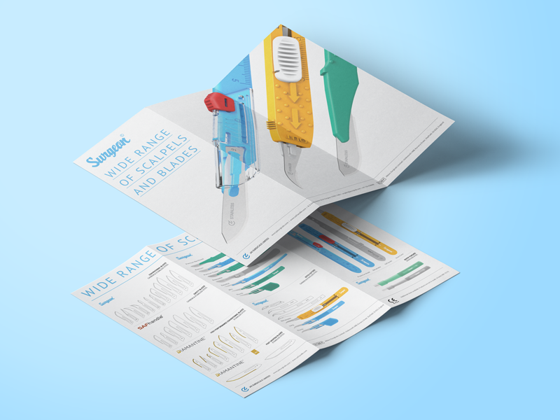 Jai Surgicals | Tri Fold Brochure 3dprinting photoshop indesign keyshot scalpels medical