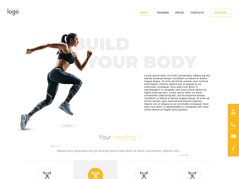 Build your Body uidesign workout landing page